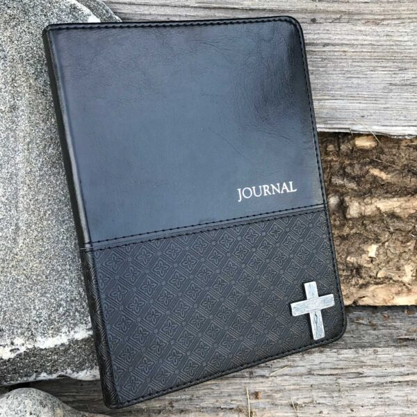 Black Classic LuxLeather Journal With Silver Cross