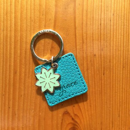 By Grace Keyring with Flower Charm