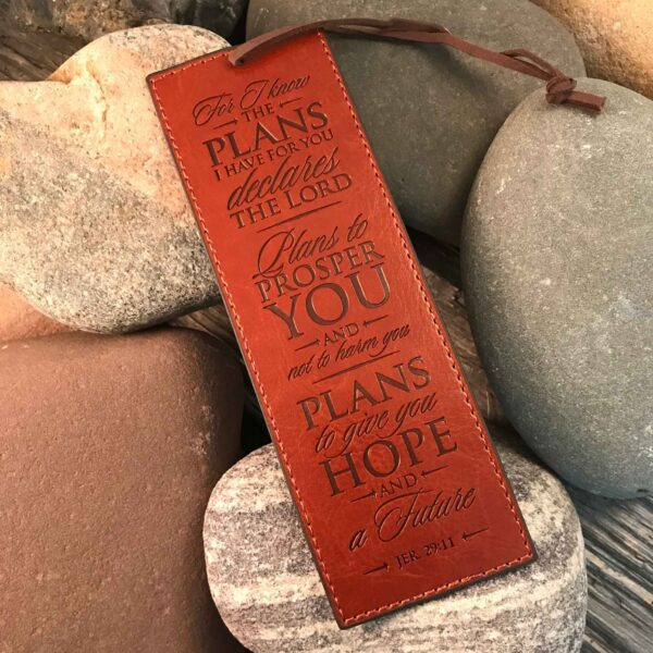 """I Know The Plans"" LuxLeather Bookmark in Brown - Jer 29:11"