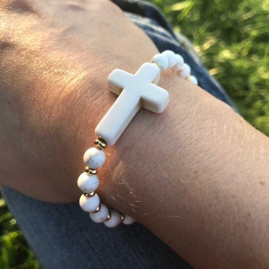 Gold & White Cross Bracelet