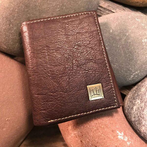 Leather Wallet: Three Crosses in Brown
