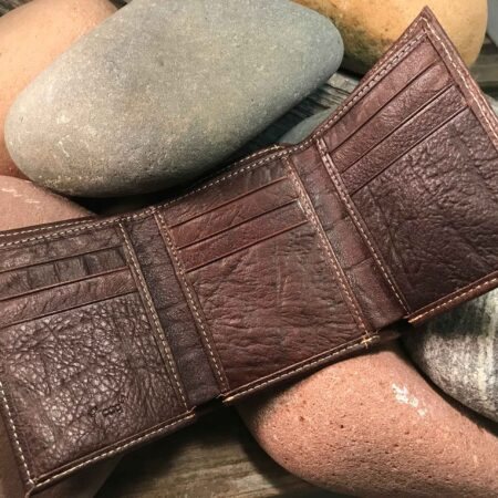Leather Wallet: Three Crosses in Brown