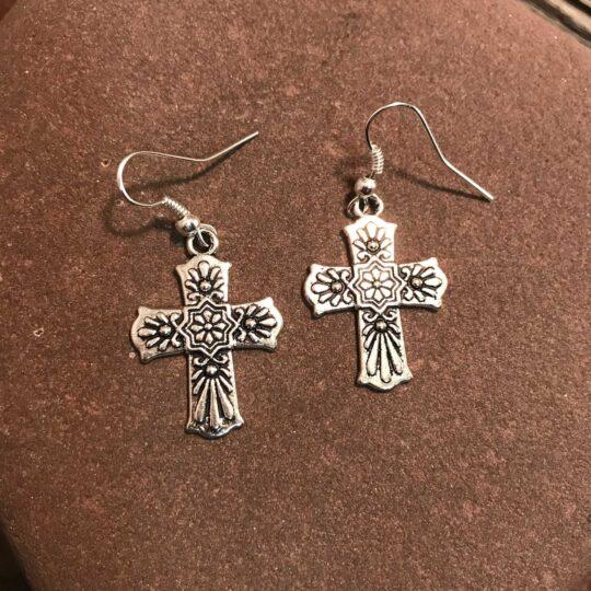 Silver Floral Cross Earrings
