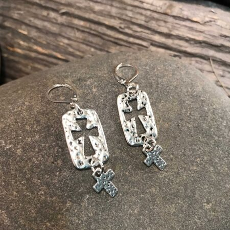 Silver Double Cross Earrings