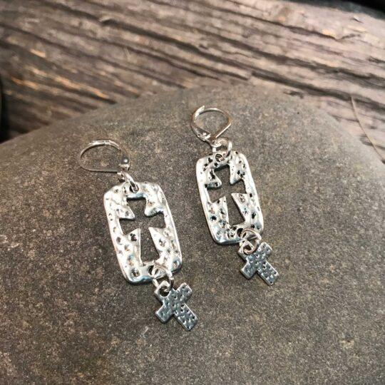 Silver Double Cross Earrings