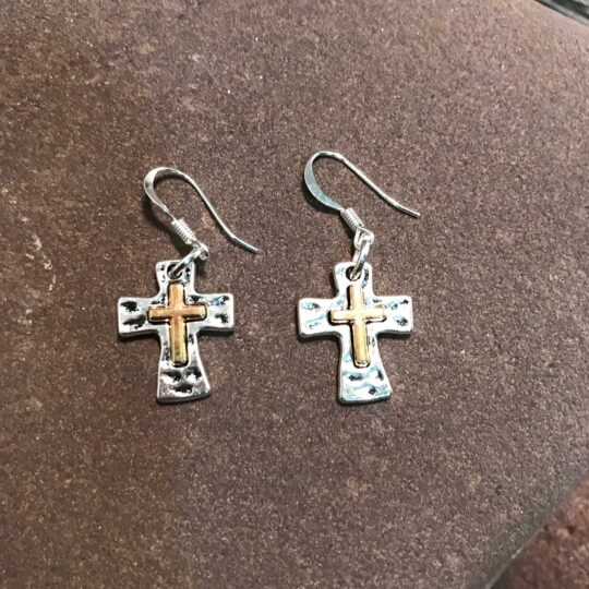 Silver and Gold Cross Earrings