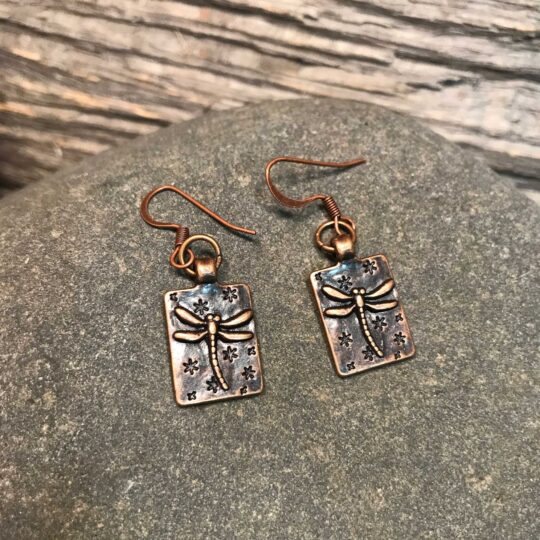 Bronze Square Dragonfly Earrings
