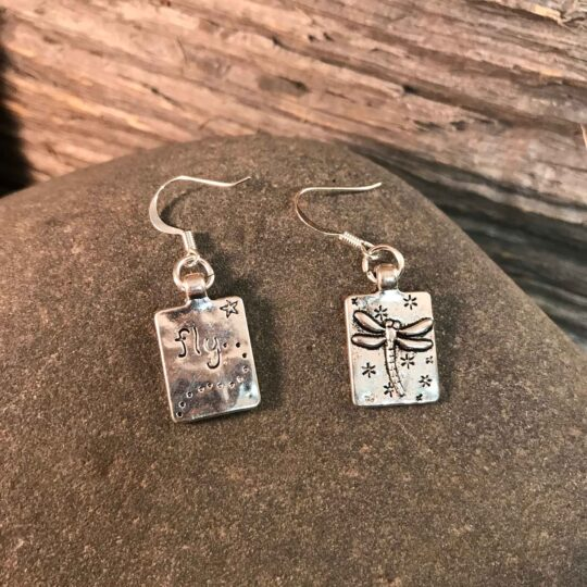 Silver Square Dragonfly Earrings