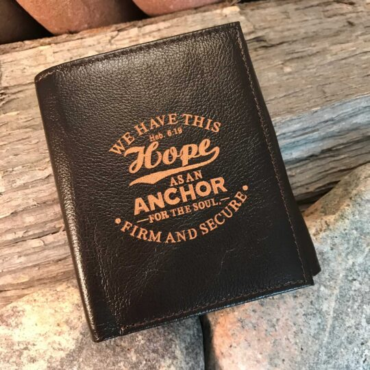 "Leather Wallet: ""Hope as an Anchor"", Tri-fold in Brown - HEBREWS 6:19"
