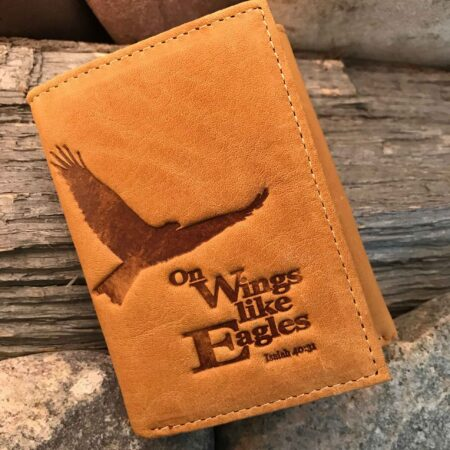 Leather Wallet: Eagle Tri-fold in Saddle Tan - ISAIAH 40:31