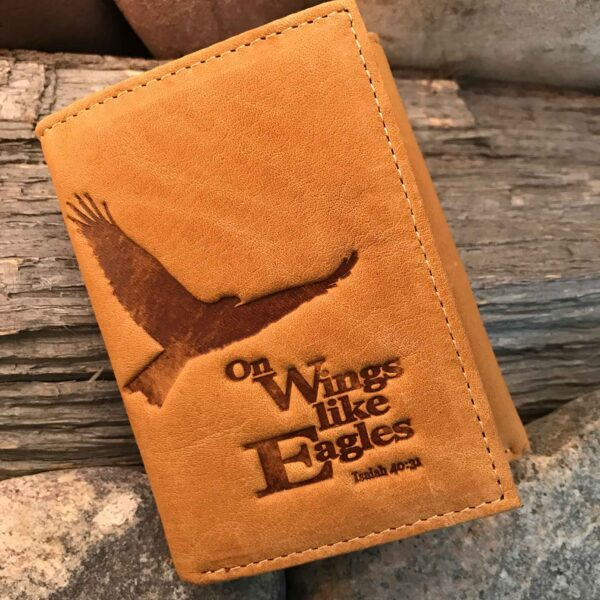 Leather Wallet: Eagle Tri-fold in Saddle Tan - ISAIAH 40:31