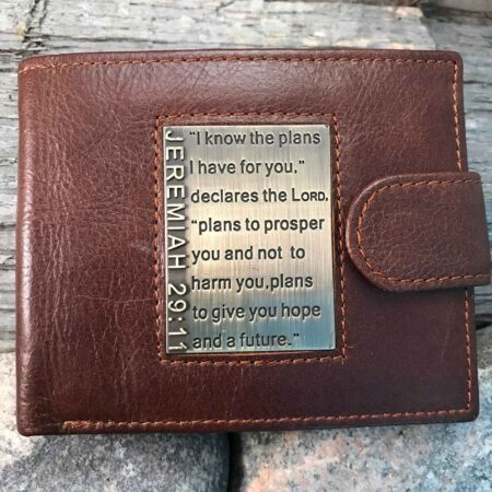 Leather Wallet: Brown with Brass Inlay - JEREMIAH 29:11