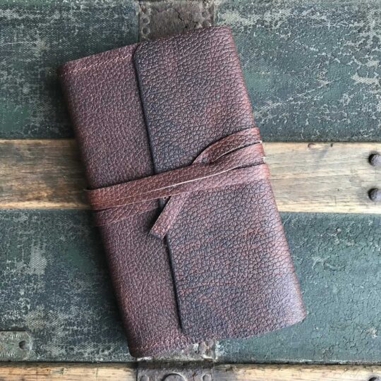 Utility oil tanned leather wrap journal - small
