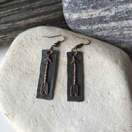 Gun Metal and Bronze Arrow Earrings