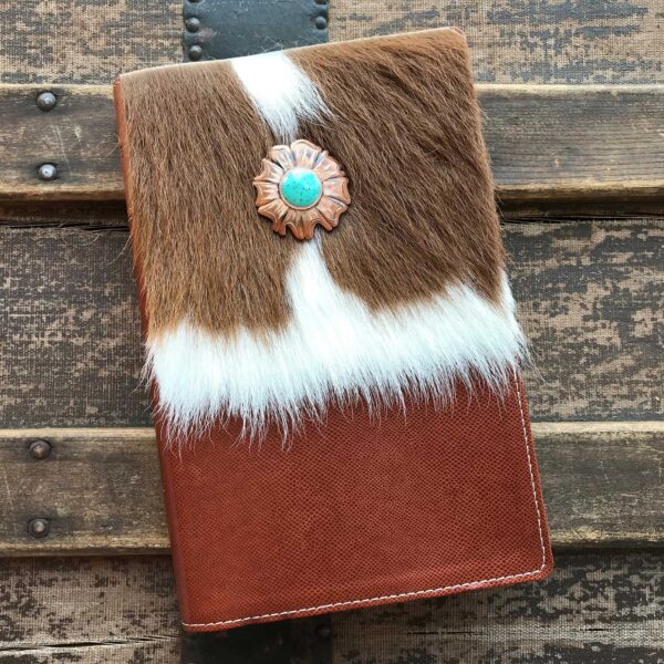 NIV Thinline Bible, Brown and White Cowhide with Flower Concho