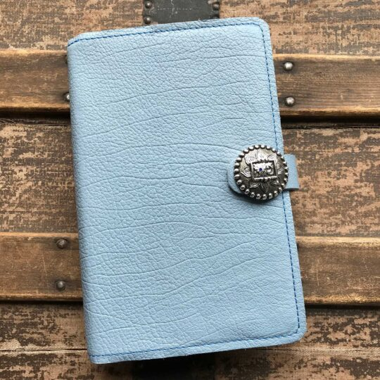 Blue Leather Snap Closure Bible Cover