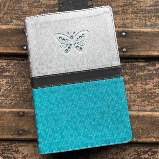 Embellished Grey and Blue KJV Study Bible for Girls