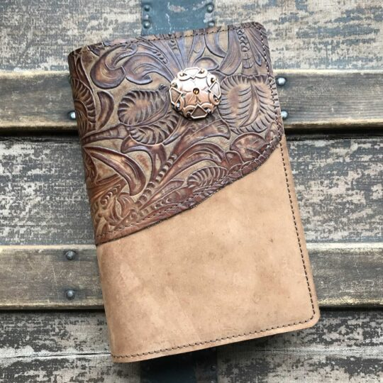 Suede Leather Bible Cover with Copper Concho