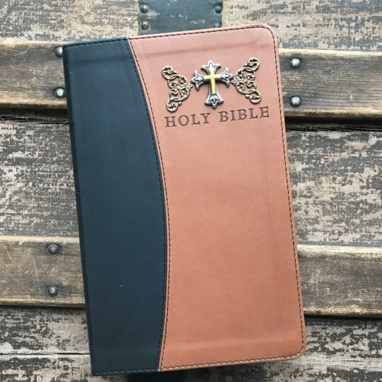 KJV Personal Size Giant Print Reference Bible, Imitation Leather, Black & Tan