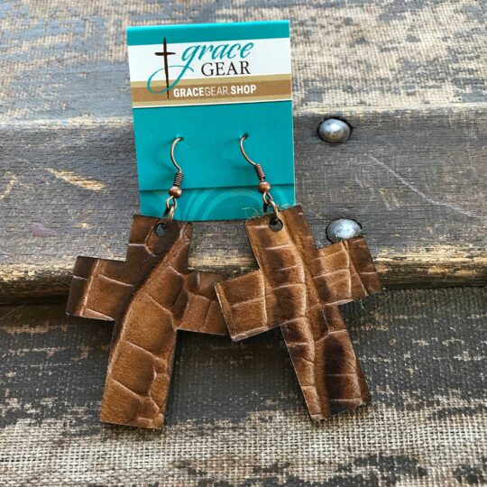 Brown Cross Shaped Embossed Leather Earrings