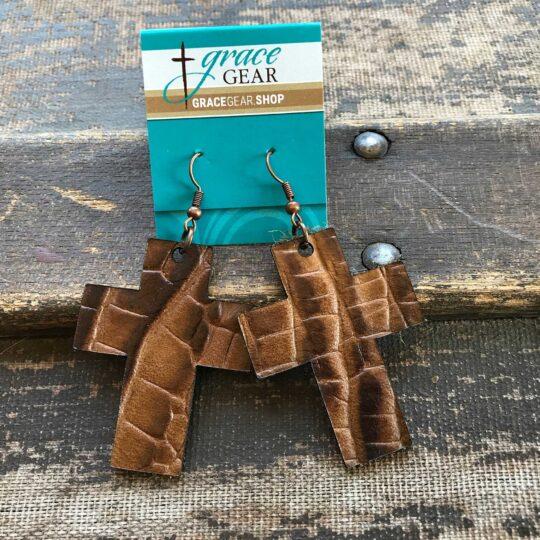 Brown Cross Shaped Embossed Leather Earrings