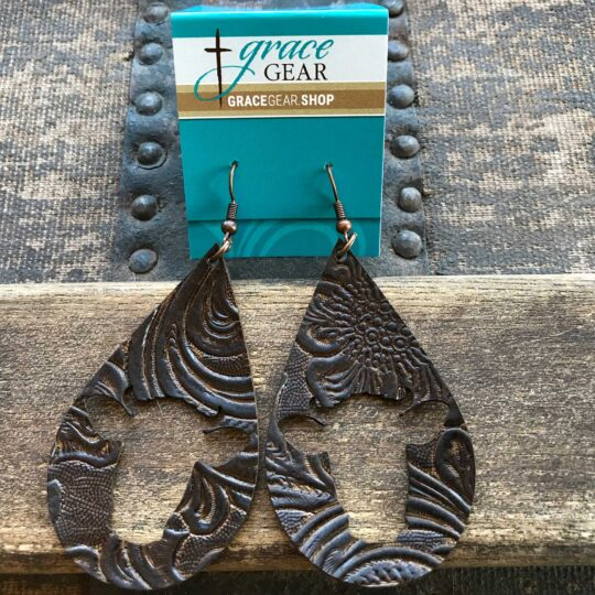 Brown Teardrop Shaped Cow Cutout Embossed Leather Earrings