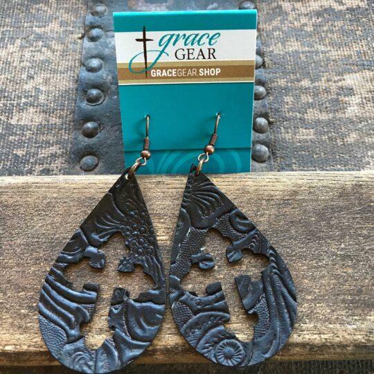 Dark Brown Teardrop Shaped Cross Cutout Embossed Leather Earrings