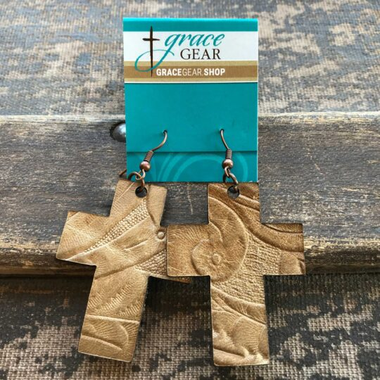 Natural Cross Shaped Embossed Leather Earrings