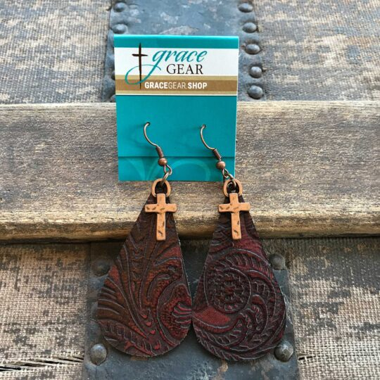 Red Teardrop Shaped Embossed Leather Earrings