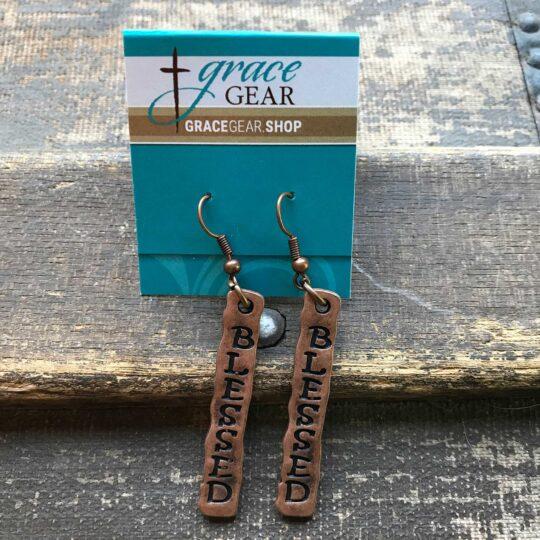 """Bronze Bar """"Blessed"""" Earrings"""