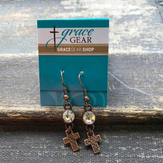 Bronze Bling Cross Earrings