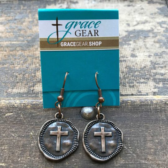 Bronze Round Cross Earrings