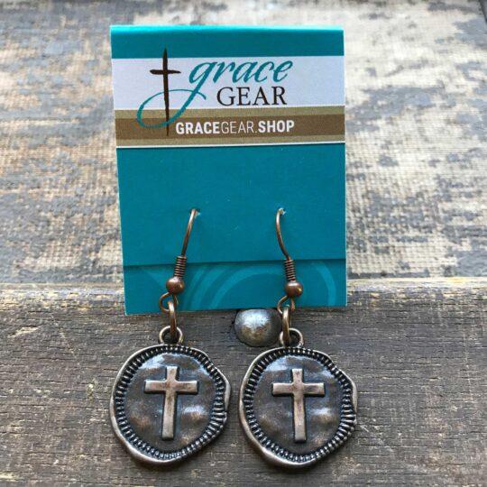 Bronze Round Cross Earrings