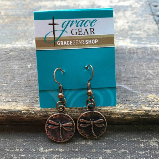 Bronze Round Dragonfly Earrings
