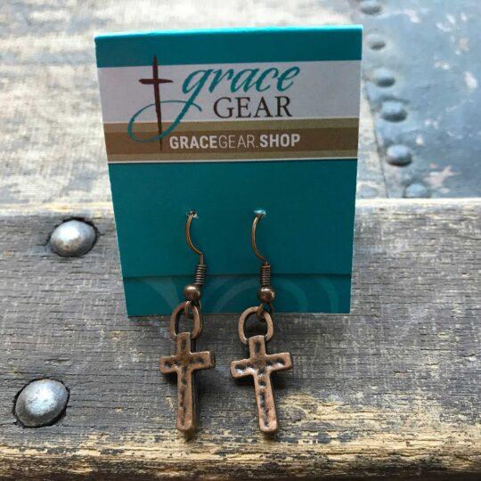 Bronze Small Cross Earrings