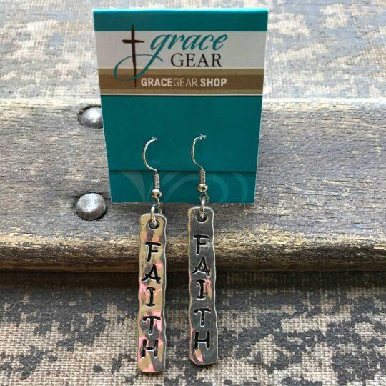 """Silver Bar """"Faith"""" Earrings"""